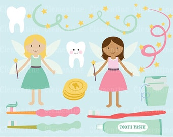 Tooth fairy clip art images,  dental clipart, tooth vector, royalty free clip art- Instant Download