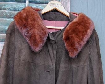 Vintage Coat Suede Coat Vintage Brown Jacket with Fur Collar Women's Coat