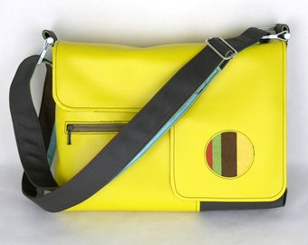 SALE! Vegan Laptop Bag Canary Yellow and Chocolate Bown, Vinyl Computer Bag