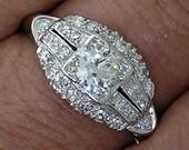 Diamond Engagement Ring, circa 1925~all original~platinum~Vintage .90ct TW