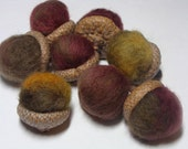 "Ready to Ship! Marbled Felt Acorns in ""Hotness"" - quantity 8 - decor, wedding favors, from nature, ecofriendly"