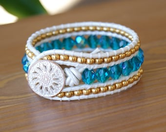 Blue leather wrap bracelet, wide cuff, white, gold, Shabby chic, bohemian surfer glam, trendy, artisan jewelry, hipster