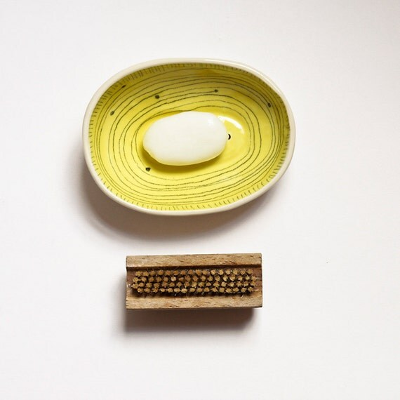 Ceramic soap dish bright yellow and white bathroom by karoart for Bright yellow bathroom accessories