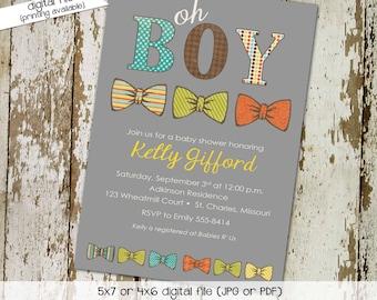 bow tie baby shower invitation little gentleman baby boy shower baptism christening couples shower bash (item 1239) shabby chic invitation