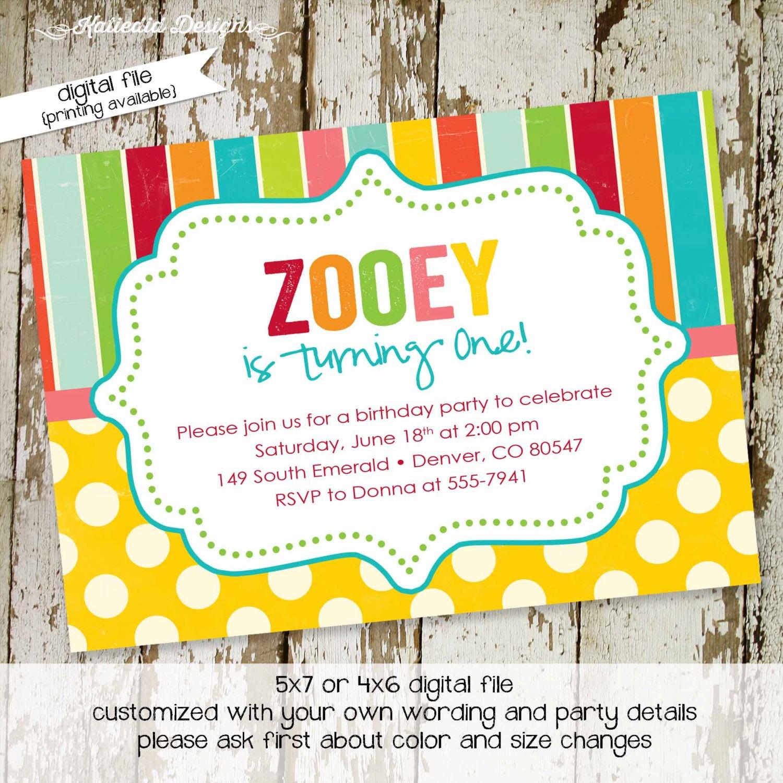 birthday party invitations rainbow polka dots girl boy twins baby