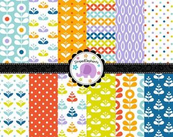 Mod Flower Digital Paper Pack, Retro Digital Scrapbook Paper, Retro Digital Paper Pack, Instant Download, Commercial Use