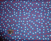 Americana Stars in Red and White on Blue Fabric 1 1/4 yard
