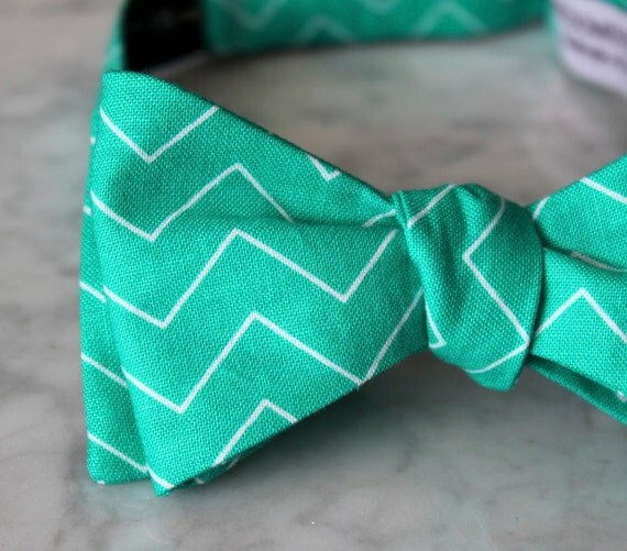 Bow Tie in Dark Mint Chevron - clip on, pre-tied with strap or self tying - wedding ties - ring bearer outfit