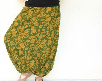dark olive green vintage  flowers  Hand made draw string  harem pants  , size S-XL,unisex pants.