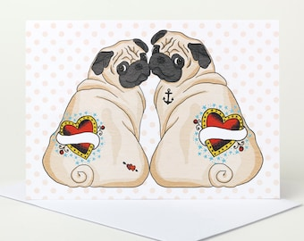 Fawn Pug Love Card - personalise with names (valentine's day card, engagement card, anniversary card, wedding card, customise)
