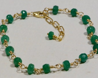 Colombian Emerald Wire Wrapped on 14K Gold Filled Wire Birthstone Jewelry