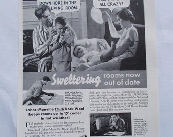 Vintage 1930s Ad-Johns-Manville Rock Wool Insulation-1935 National Geographic Magazine Ad