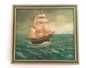 Vintage English Large Tall Sailing Ship Painting x 1 Galleon Frigate Gift Sailor circa 1987 / English Shop