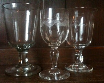 Antique French Drinking Glasses Mismatched Set of 3 circa 1910-20's / English Shop
