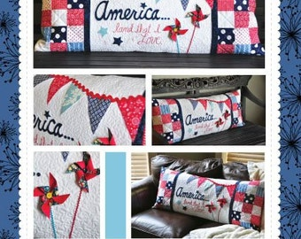 America....Land That I Love Bench Pillow Pattern designed by KimberBell