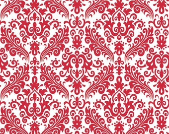 1 Yard of Hollywood Med Damask Red on White by Riley Blake