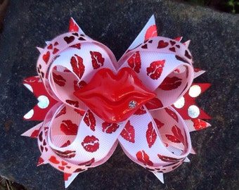 Valentine Kiss Boutique Resin Hairbow