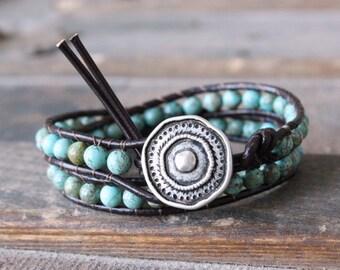 Turquoise Boho Leather Wrap Bracelet - Green Turquoise Bohemian Stacking Layering Bracelet