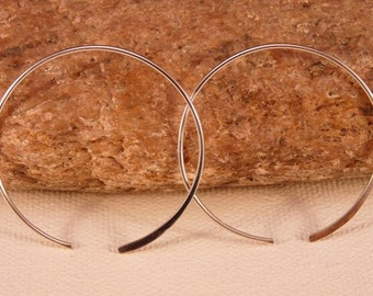 Sterling Silver Hammered Open Hoop Earrings.  Hand Fabricated, Artisan.