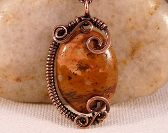 Wire Wrapped Jasper Pendant Necklace, Copper. Autumn Colors.