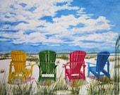 Beach Chair Art, Florida Art, Beach Painting, Beach Adirondack Chair Art Print, Seashore Watercolor, Beach Wall Art Gift, Barbara Rosenzweig