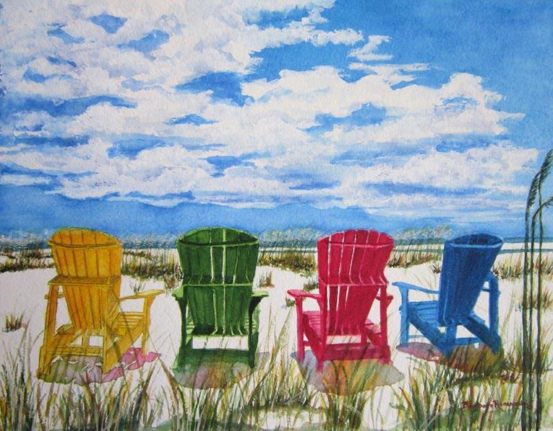 Beach Chair Print Wall Art Painting Adirondack