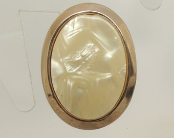 Upcycled Gold Pin with Shell Inlay