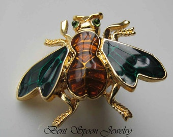 Vintage Trifari Emamel Bee Pin, Bug Pin, Brooch, Lapel Pin, Bent Spoon Jewelry
