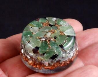 Orgonite Orgone Energy Generator. Tibetan Crystals,  Green Quartz, Shungite, Rhodizite, Kyanite, Selenite, Black Tourmaline, Copper (d27)