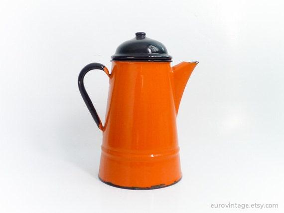Vintage Enamel Orange Teapot Coffee Kettle
