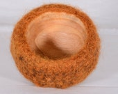 Fiber Art Bowl - hand felted and hand formed wool art- crocheted with mixed color yarns with hand made bowl to fit