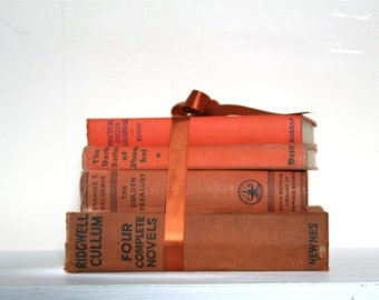 CLOSING DOWN SALE - 50% Off Vintage Book Stack in Shades of Orange and Rust
