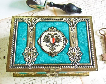 French Tin box Embossed Turquoise and gold