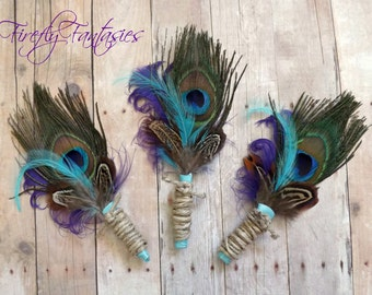 Country Rustic Peacock Boutonniere - Men's Groom Lapel pin teal blue purple green brown feathers hemp twine