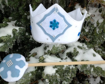 Winter Princess Felt Crown,Sparkling White, Snowflakes and Crystals,cyber monday