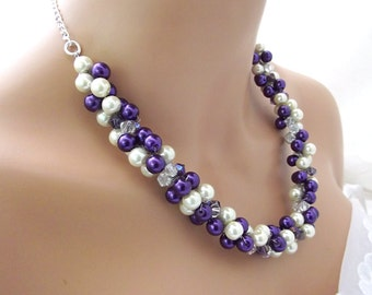 Purple Pearl Necklace, Purple and White Pearls, Chunky Necklace Statement, Bridal Pearl Jewelry, Bridesmaid Necklace