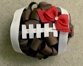 Football Loopy Puff Bow