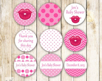 Hot Pink Lips Baby Shower Small Candy Labels -  Lipstick Chevron Polka Dots Party Favors Birthday Favors Printable Candy Sticker 0.75 inch