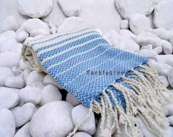 Turkishtowel-2014 Summer Collection-Hand woven,20/2 cotton warp and weft,Zigzag,Turkish Bath,Beach Towel-Natural cream and Turquoise stripes
