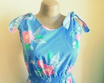 1970s HAWAIIAN DREAM Dress....size medium to large....mod. dreamy. day dress. 1970s dress. blue. vacation. pink. hawaii. floral dress. retro