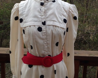 Vintage Polka dot dress. Off white dress with black polka dots, Office dress, 1980s Leslie Fay, long sleeve spring dress, shirtwaist dress