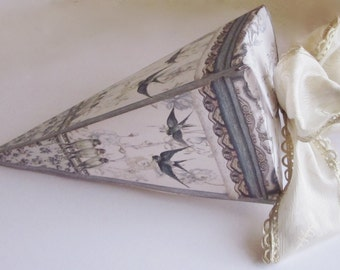 printable woodland Spring wedding  DIY  birds  cone instant download