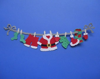 Santas Clothes Line Die Cut Embellishment Very Large Christmas Santa Clothes Scrapbooking Cardmaking