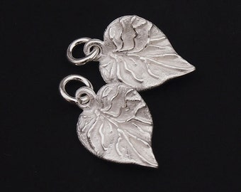 2 of 925 Sterling Silver Leaf  Charms 11x15.5 mm. :th1738