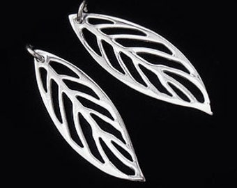 2 of 925 Sterling Silver  Leaf Charms 9x27 mm., Polish Finished  :th1809