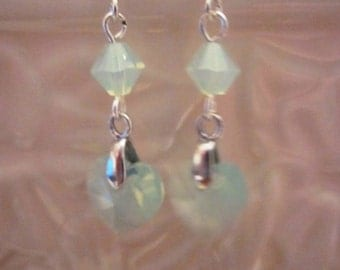 Swarovski Crystal Chrysolite Opal Earrings, Heart Drops, Sterling Silver Earrings,  Bridal, Wedding, Bridesmaid, Formal, Prom,SRAJD