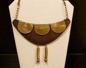 ZAMBIA Brown Leather Statement Necklace with Brass Accents