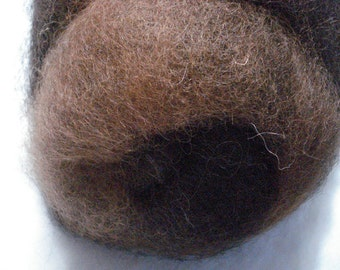 Natural Medium Brown and Black Blended Alpaca Batt - 6 ounces