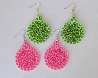 Quilling Earrings, Neon Pink or Neon Green