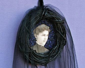 Long Black Veil - beaded wreath, gothic victorian, black wedding veil, bride, mourning, morbid art, black and blue, original mixed media art